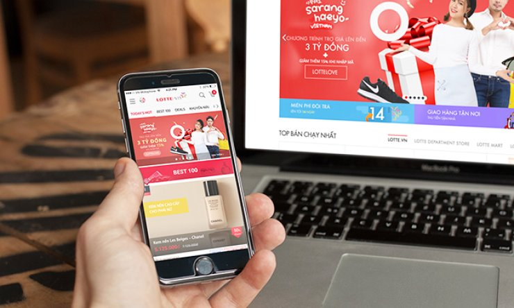 The main screens of the Lotte.vn website and mobile application. / Courtesy of Lotte Group