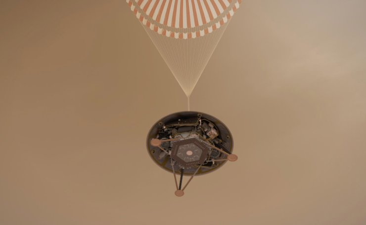 An undated handout illustration made available by NASA shows a simulated view of NASA's InSight lander descending towards the surface of Mars on its parachute. EPA