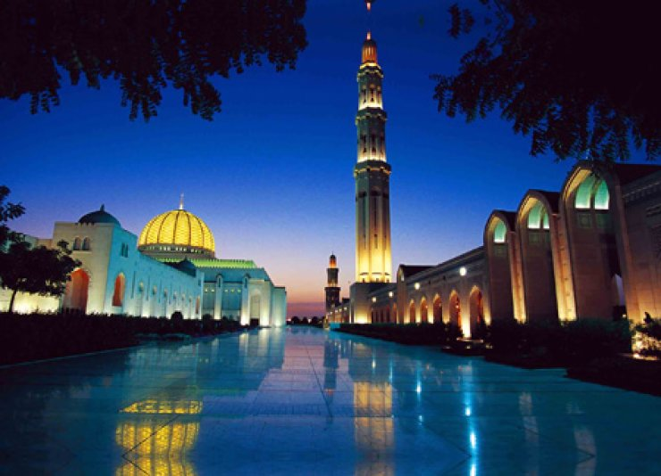 Night scenery of Grand Mosque in Muscat