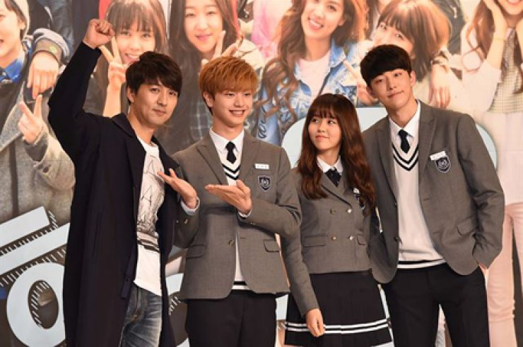 The cast members of 'Who Are You - School 2015' pose at the press conference at Times Square in Yeongdeungpo, Seoul, Wednesday. From left are Lee Pill-mo, Yook Sung-jae, Kim So-hyun and Nam Ju-hyuk. / Courtesy of Hankook Ilbo