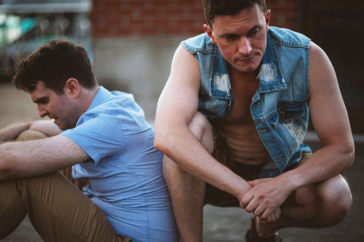 Cast members Jamie Horan, left, and Jason Cutler rehearse 'Garage.' / Courtesy of Robert Michael Evans