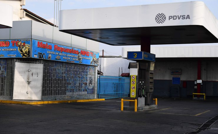 View of an empty gas station during a blackout in Barquisimeto, Venezuela on March 8, 2019. AFP