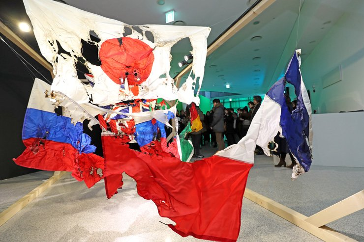 Mexican artist Joaquin Segura's 'G8' is on view at the 2018 Gangwon International Biennale held at the Gangneung Green City Experience Center E-ZEN in Gangneung, Gangwon Province, through March 18. / Yonhap
