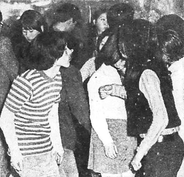 A March 21, 1971, photo in The Korea Times shows two long-haired dancers, describing the male as 'in a trance, far from reality and absorbed in his own special world.'  / Korea Times file