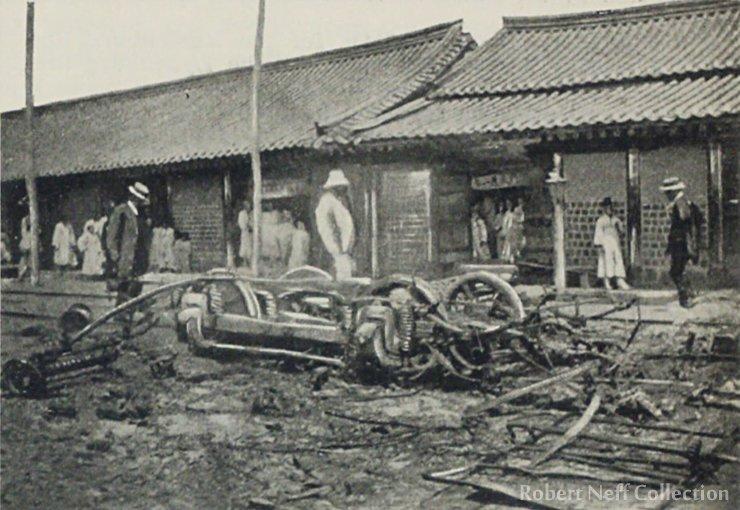 The destruction of a streetcar, circa May 26, 1899.