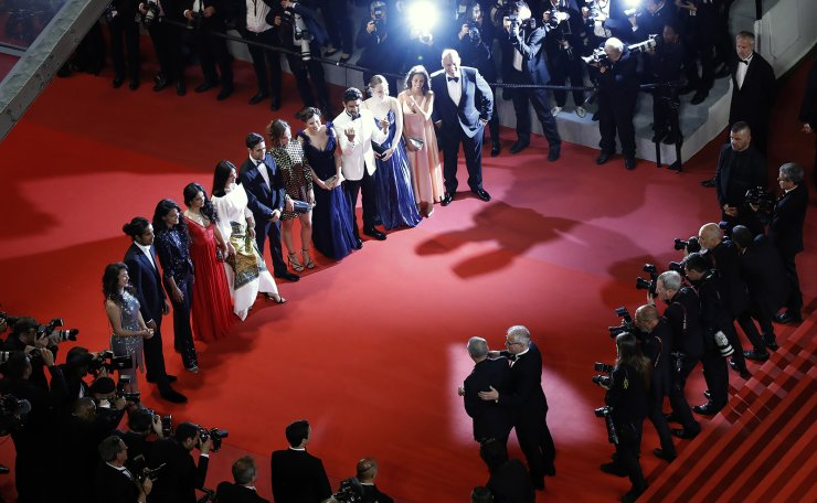 Cast and crew arrive for the screening of 'Mektoub, My Love: Intermezzo' during the 72nd annual Cannes Film Festival, in Cannes, France, 23 May 2019. The movie is presented in the Official Competition of the festival which runs from 14 to 25 May. EPA