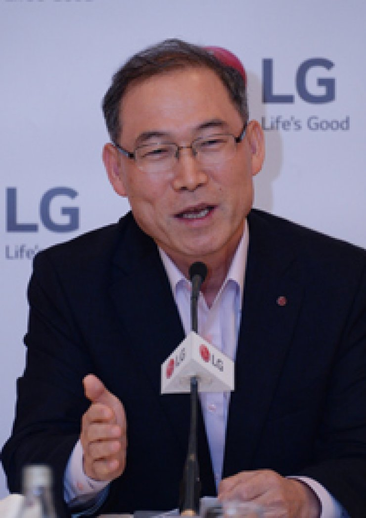 Song Dae-hyun, president at LG Electronics' home appliance and air systems unit, tells a press conference in Berlin about LG's plan to expand its smart home business. / Courtesy of LG Electronics