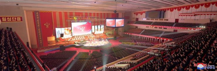 The Moranbong Band and other North Korean perform during a key function in Pyongyang, December. / Yonhap
