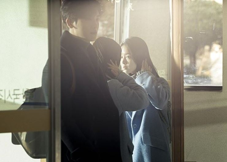 Park Hyung-sik, left, and Han Ji-min play visually impaired people falling in love in the short film 'Two Lights: Relumino.' / Courtesy of Naver