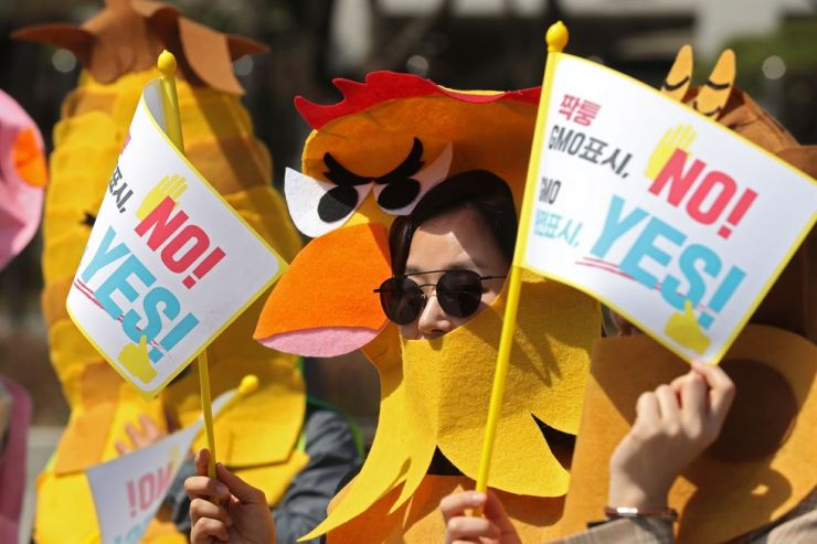 Members and employees of the Farmer's COOP and its cooperatives and consumers from across the nation wore costumes at a protest in front of the Government Complex in Seoul, April 10, to demand a revision of food laws so genetically modified organism ingredients are on labels. They hold a flag that says,
