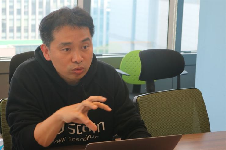BOSCoin CEO Yezune Choi responds to a question during an interview in Seoul, last week. / Courtesy of M&K PR
