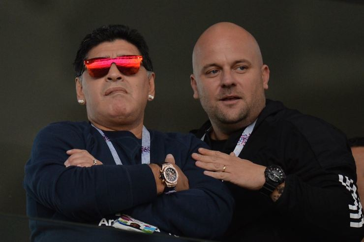 Argentinean football legend Diego Maradona, left, in a stand before the FIFA World Cup 2018 group D preliminary round game between Argentina and Iceland in Moscow on Saturday. EPA