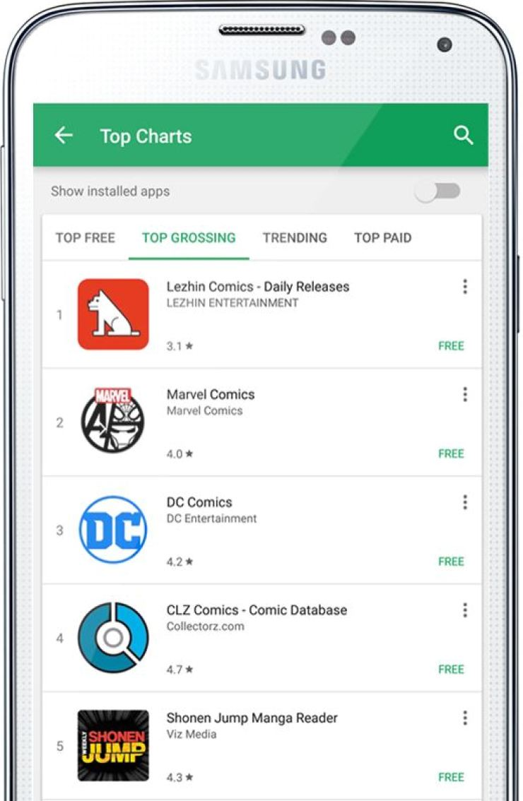 Seen is an image showing that Korean online comic platform Lezhin Comics topped the Google Play app store's best grossing application chart, Monday. / Courtesy of Lezhin Entertainment