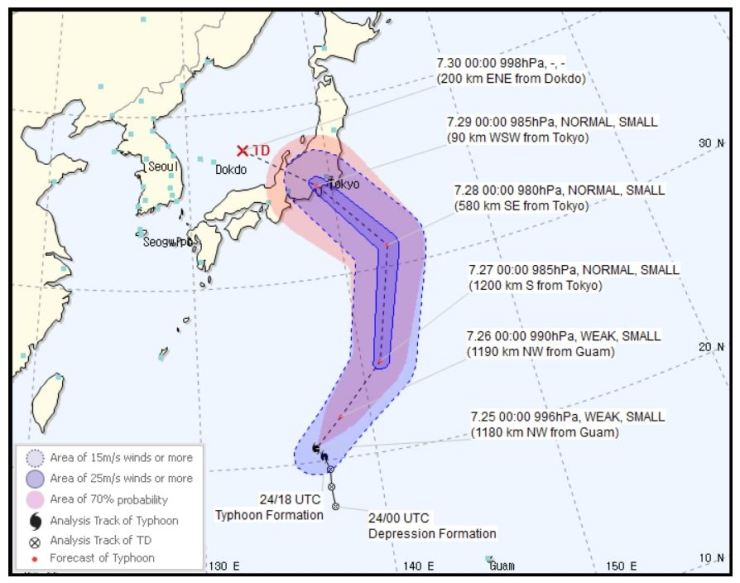 Typhoon Jongdari's expected path. / Captured from KMA website