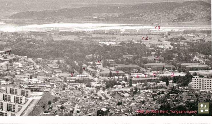 This 1969 photo of the Yongsan area shows the Eighth U.S. Army golf course labeled as 12. Most of the space is now used for the National Museum of Korea and Yongsan Family Park. / Courtesy of Rich Kent