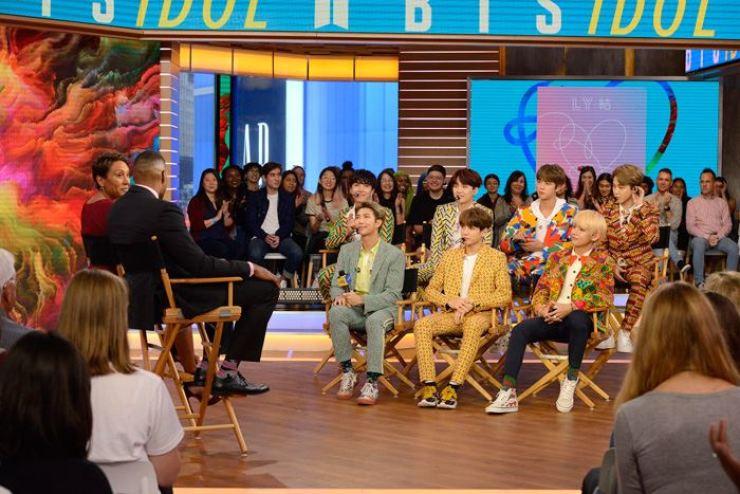 BTS on U.S. ABC TV's 'Good Morning America' program. Capture from ABC