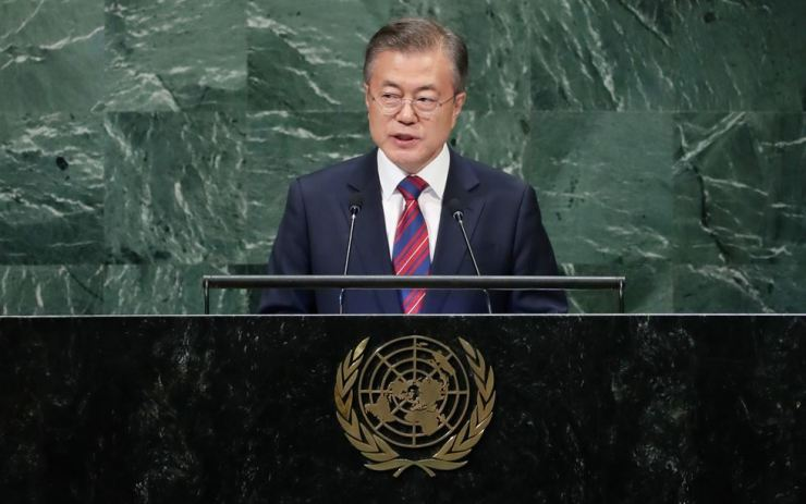 President Moon Jae-in speaks to the UN General Assembly on Sept. 26 (local time). / Yonhap