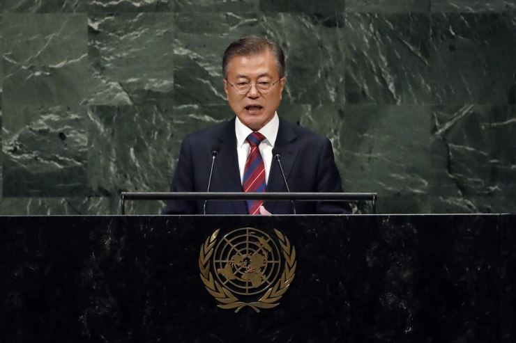 President Moon Jae-in addresses the 73rd session of the United Nations General Assembly, at U.N. headquarters, Wednesday, Sept. 26, 2018. AP