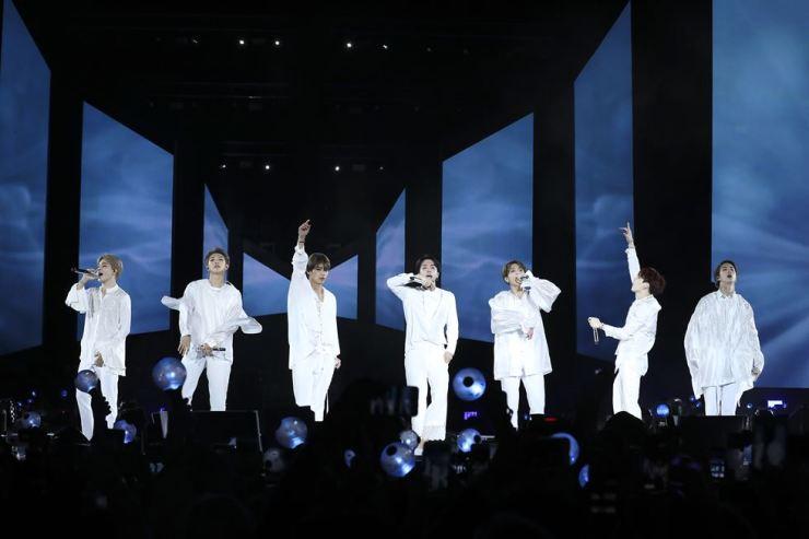BTS members perform at Citi Field in New York, Saturday. Yonhap