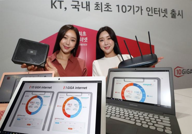 KT models promote the firm's launch of an internet service with a maximum speed of 10 gigabits per second. / Courtesy of KT