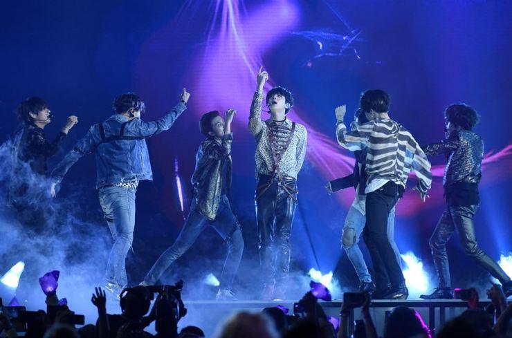BTS performs 'Fake Love' at the Billboard Music Awards at MGM Grand Garden Arena in Las Vegas in May. Yonhap