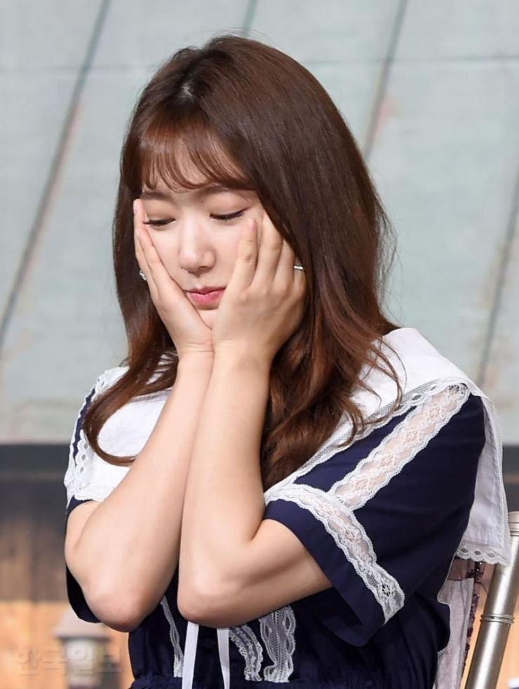 Park Shin-hye at a press conference in April 2018. Korea Times file