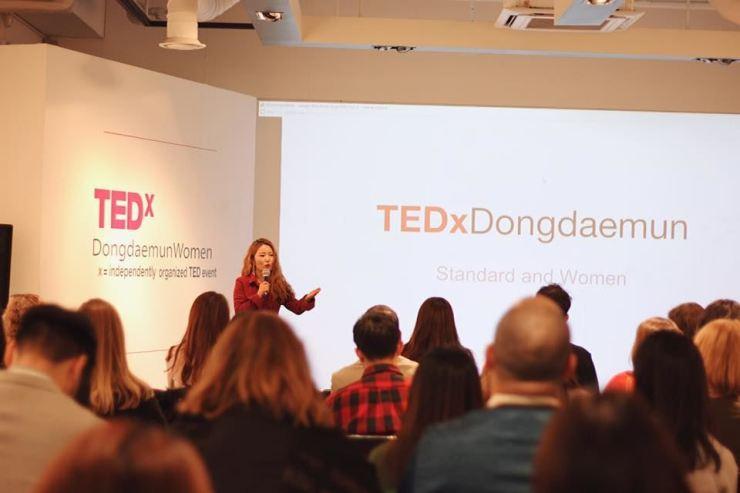 Eunhee Park speaks at TEDx in December 2018. Courtesy of Casey Lartigue Jr.
