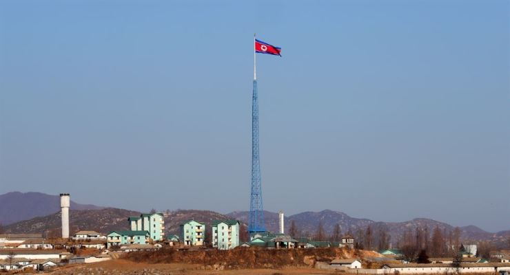 North Korea's 'peace village' of Kijong-dong seen from an observation post in Panmunjom in the South's side on Dec. 26, 2018. Korea Times file