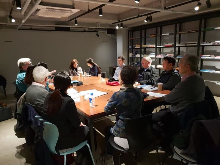 The Royal Asiatic Society Korea Branch reading club meet to discuss literature at a cafe near Changdeok Palace in downtown Seoul. / Courtesy of Steven Shields