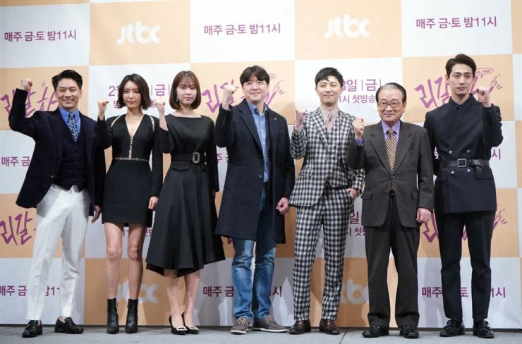 Cast members of JTBC's new series 'Legal High' gesture during a news conference previewing the drama at the Imperial Palace Hotel in southern Seoul, Thursday, a day before its first episode aired. 'Legal High' follows hit drama 'SKY Castle' that wrapped up its last episode with a record-high cable network viewership of 22 percent earlier this month. Courtesy of JTBC