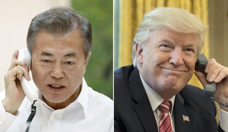 South Korean President Moon Jae-in and U.S. President Donald Trump / Yonhap