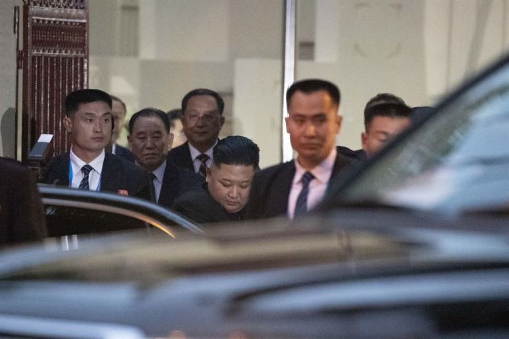 North Korean leader Kim Jong-un visits the regime's embassy in Hanoi, Tuesday, as part of his official schedule in Vietnam. Kim is there for a two-day summit from Wednesday with U.S. President Donald Trump. Korea Times photo by Choi Won-suk