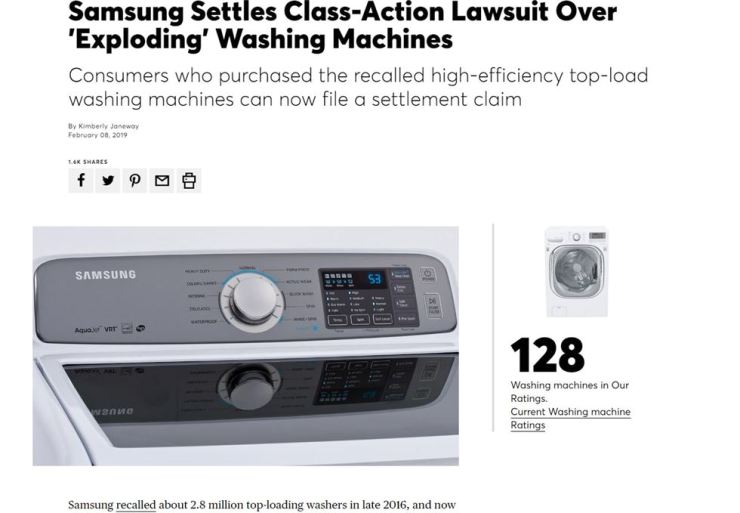 Samsung agrees to preliminary settlement over recalled washing machines