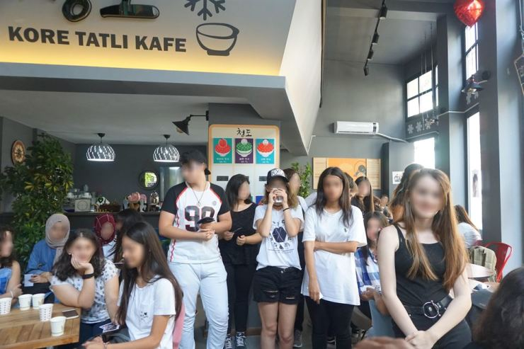 A group of Turkish customers are seen in this photo provided by Seo. In the cafe located in Istanbul, Turkey, allegedly running by SCJ's overseas recruiting team, K-pop fans gathers to dance to Korean music, write letters to the stars and learn Korean culture, according to Seo. Courtesy of alleged former SCJ member surnamed Seo