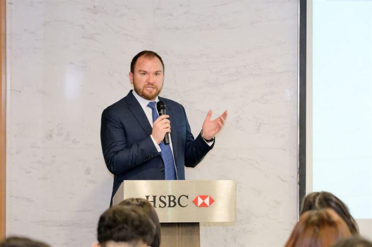 Joshua Kroeker, HSBC's innovation director, holds a press conference at HSBC Korea in Seoul, Tuesday. Courtesy of HSBC Korea