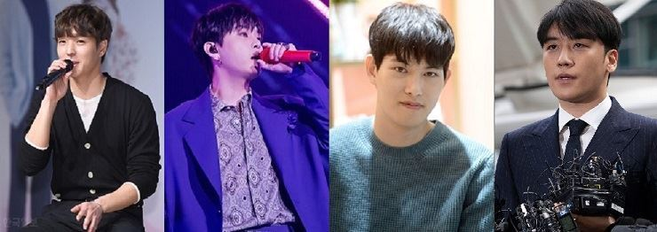From left, F.T. Island member Choi Jong-hyun, Yong Jun-hyung from HIGHLIGHT, CNBLUE member Lee Jong-hyun, and BIGBANG's Seungri admit they viewed sex videos filmed by Jung Joon-young. Seungri, Choi and Yong announced their retirement from music. / Korea Times file.