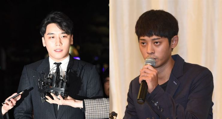 Former K-pop boy band Big Bang member Seungri, left, and singer-songwriter Jung Joon-young. Photos from Hankook Ilbo and Korea Times file