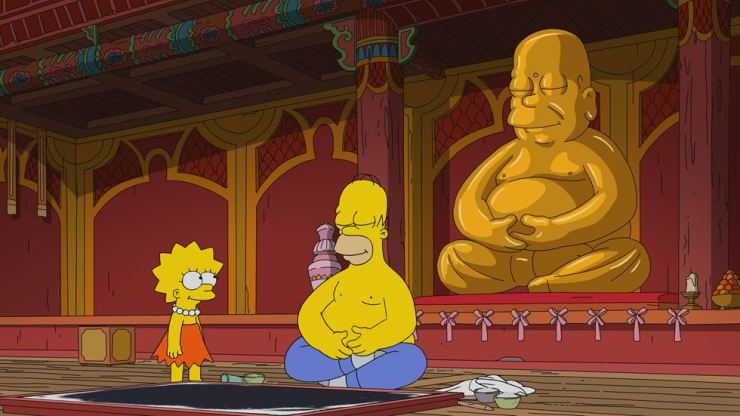 Homer sits in front of a statue of Podae Hwasang in Jogye Temple in the latest episode of 'The Simpsons.' Twentieth Century Fox Film Corporation