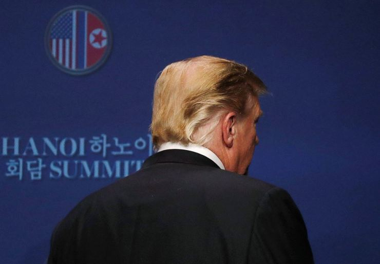 U.S. President Donald Trump reacts during a news conference after his summit with North Korean leader Kim Jong-un at the JW Marriott Hotel in Hanoi, Feb. 28. Reuters