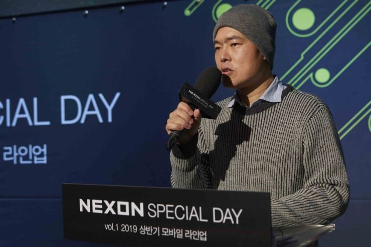 Kim Hyun, a head of domestic business at Nexon, speaks during a media conference at Nexon Arena in Seoul, Tuesday. / Courtesy of Nexon