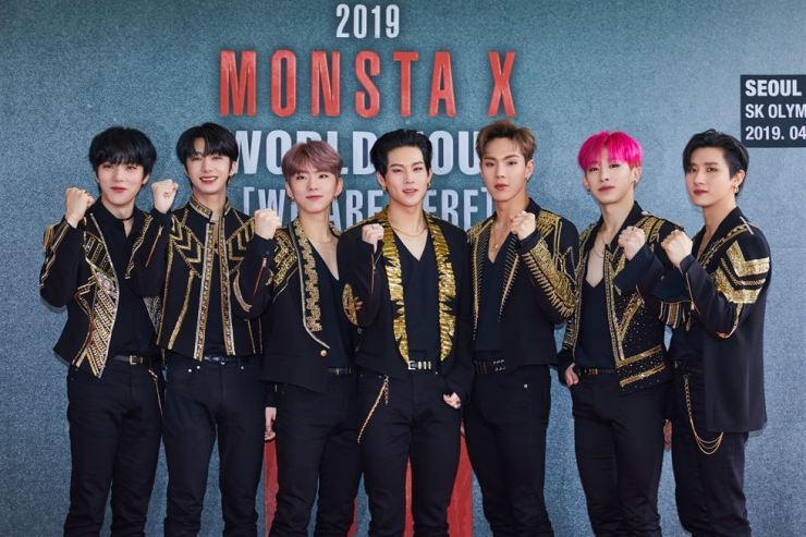 K-pop band Monsta X kicked off its third world concert tour 'We are Here' at Seoul SK Olympic Handball Gymnasium on Saturday. / Courtesy of Starship Entertainment
