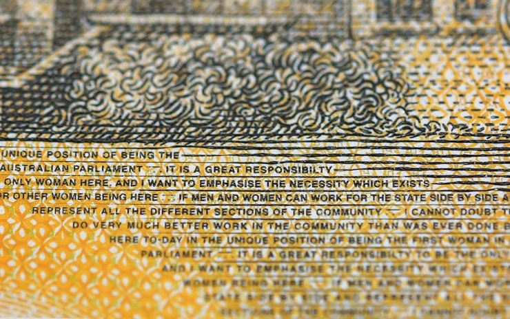 A close-up view of a current circulation 50 Australian dollar note printed with the word 'responsibility' spelt incorrectly in Sydney, New South Wales, Australia, May 9. EPA