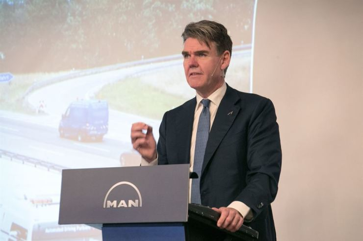 MAN Truck & Bus CEO Joachim Drees speaks during a press conference at the Grand InterContinental Seoul Parnas hotel, Thursday. Courtesy of Man Truck & Bus Korea