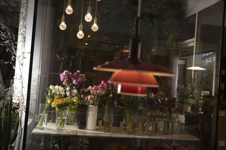 A flower boutique is located inside La Fete, along with a cafe and fashion stores. Korea Times photo by Choi Won-suk