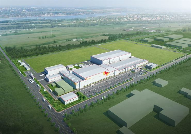 An artist's concept of SK Innovation's battery manufacturing plant in Hungary, which will begin mass production starting 2020. The firm said Wednesday it will construct a battery manufacturing plant in China, its second in the country. / Courtesy of SK Innovation