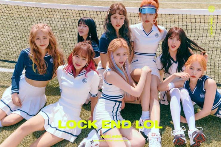 Weki Meki members pose for a 'locked' version of their characters, meaning they are 'locked' inside