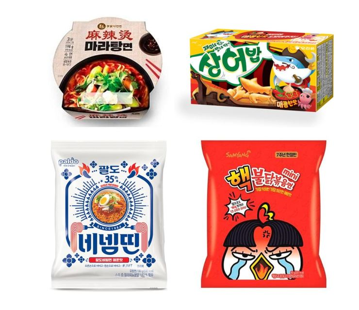 From upper left to clockwise; CU Malatang noodles, Orion spicy Sangeobab fish crackers, Samyang Foods' ultra-spicy Buldak mini noodles and Paldo's NehNemDdin noodles. Korea Times file