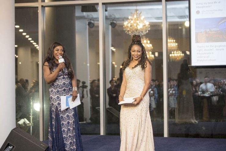Duuple CEO Abby Frimpong, right, and Mona Hanson, chief marketing officer of East Meets West and Seoul Cosmetic Surgery, host the launch of Duuple Asia at Some Sevit floating island in Seoul on April 26. / Courtesy of Julien Baek Photography