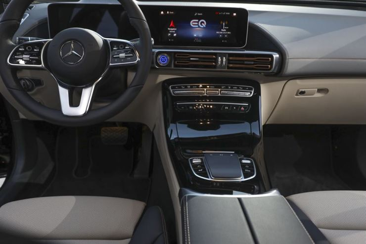 The interior of the new Mercedes-Benz electric SUV, the Mercedes EQC, at Artipelag art gallery in Gustavsberg, Stockholm, Sweden, Sept. 4, 2018. EPA