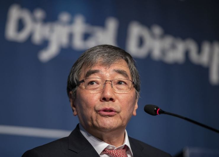 Financial Supervisory Service Governor Yoon Suk-heun speaks at a forum on digital transformation hosted by the Korea Times in Seoul, Wednesday. / Korea Times photo by Shim Hyun-chul